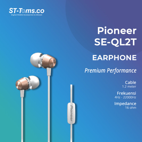 Foto Produk Pioneer SE-QL2T / SE QL2T In-Ear Earphones - Black - Rose gold dari ST-Toms.co