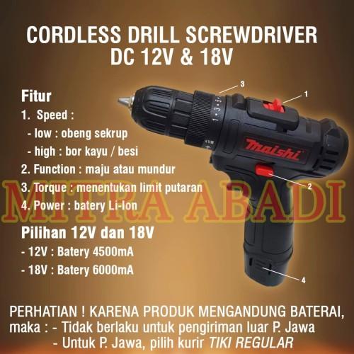 Foto Produk Mesin Bor Tangan Portable / Cordless Drill Screwdriver DC - 12V dari Toko Mitra Abadi