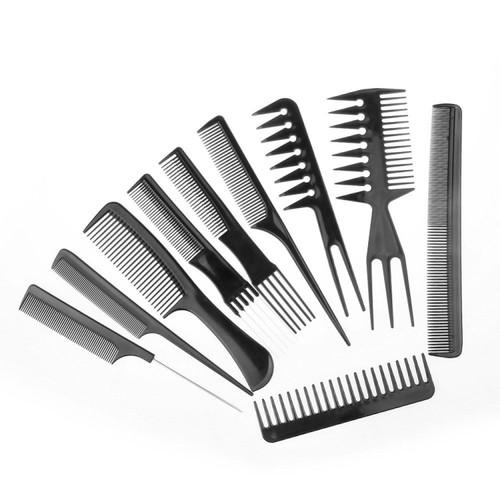 Foto Produk Paket Sisir Rambut 10 Set - Peralatan Rambut Hair Salon - Hitam dari conngallery