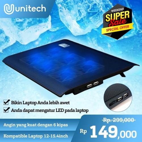 Foto Produk Notebook Cooler Coolingpad Kipas Pendingin Laptop Notebook Unitech M6 dari Unitech Official