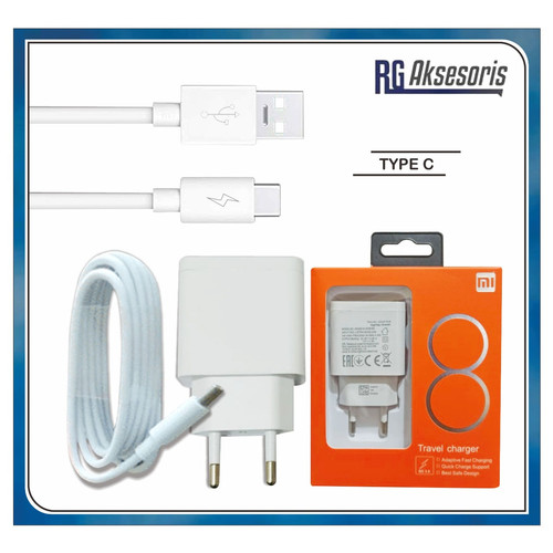 Foto Produk Travel Charger XIAOMI MI8 Original 100% MICRO USB/TYPE C QUALCOMM 3.0 - TYPE C dari RG AKSESORIS HP