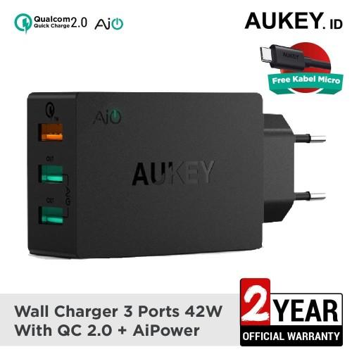 Foto Produk Aukey Charger 3 Ports 42W QC 2.0 & AiQ - 500231 dari AUKEY