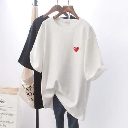 Foto Produk cdg t shirt Wanita Oversized PLAY - Putih dari Grosir Korean style