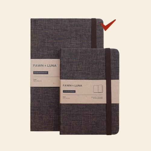 Foto Produk A5 Notebook - Plain / Dotted Paper - Abbey Brown Fabric - Plain dari FAWN & LUNA