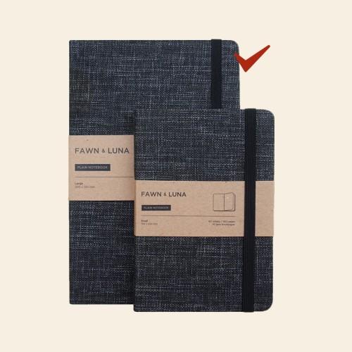 Foto Produk A5 Notebook - Plain / Dotted Paper - Black Smoke Fabric - Plain dari FAWN & LUNA