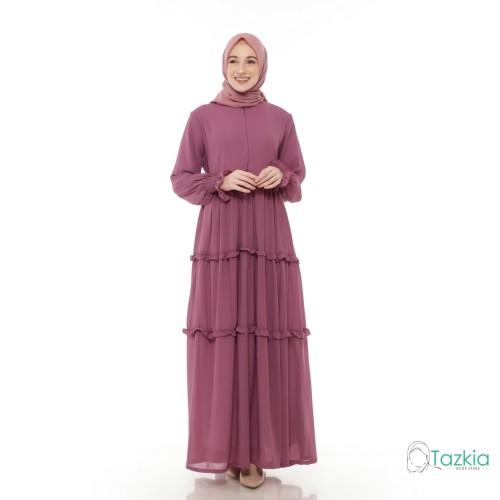 Foto Produk Gamis Wanita | Hasna Dress Ungu | Ceruty Babydoll Full Furing Original - Ungu, XL dari Tazkia Hijab Store