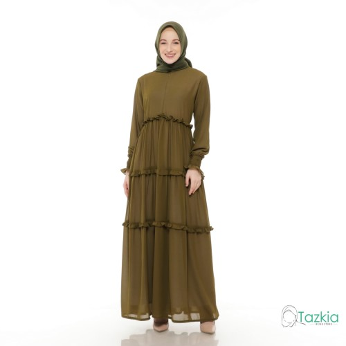 Foto Produk Gamis Wanita   Hasna Dress Army   Ceruty Babydoll Full Furing Original - Army, M dari Tazkia Hijab Store
