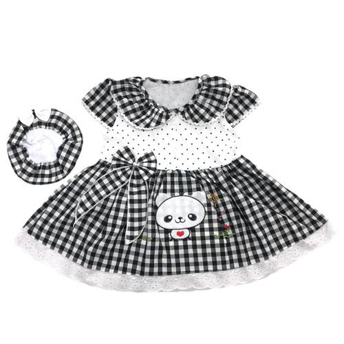 Foto Produk Baju Dress Bayi Perempuan Katun 6-12 Bulan Motif Kotak Gambar Panda - Grey dari MyJAC Collection