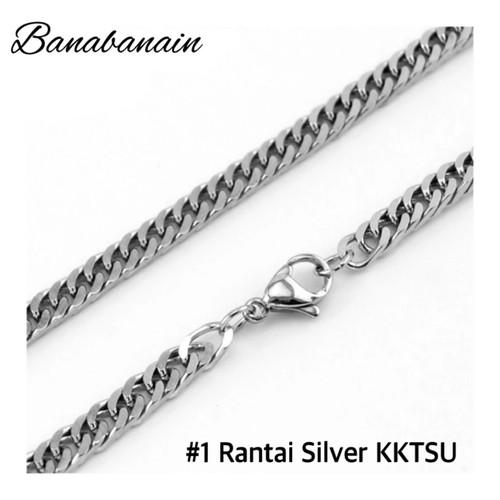 Foto Produk Kalung Silver rantai titanium steel kalung pria - 1 Rantai SIlver dari banabanain