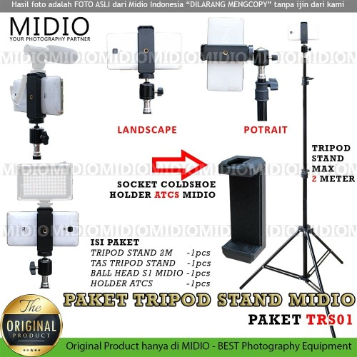 Foto Produk Paket Tripod Stand TRS01 Midio Plus STAND HOLDER U dan Ball Head dari Midio