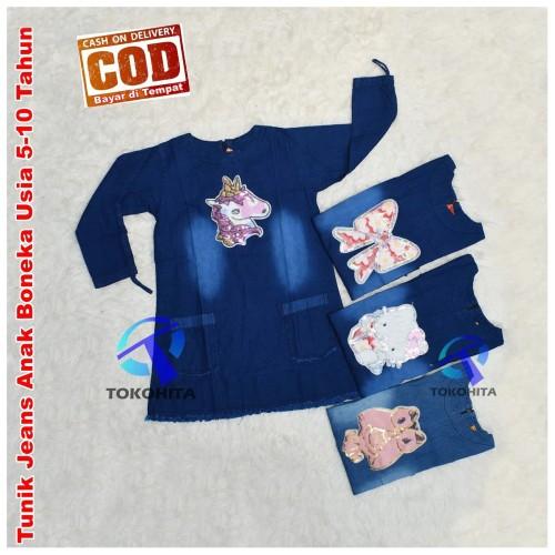 Foto Produk Tunik Jeans Anak Perempuan Boneka Usia 5-10 Tahun - L dari Tokohita