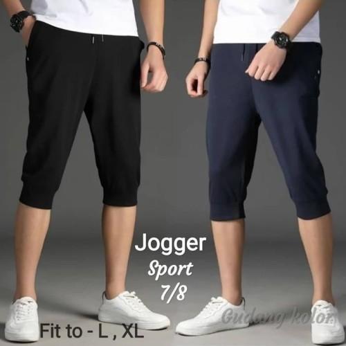 Foto Produk Celana Jogger 7/8 Hitam & Navy Polos Babyterry Celana Training Premium dari NR_Sport Jersey Murah