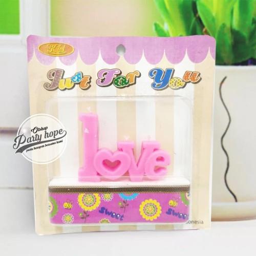 Foto Produk Lilin Love pink / Lilin Tulisan Love pink / Lilin Unik / Lilin Murah dari PARTY HOPE 2