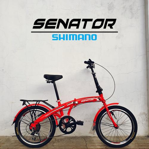 Foto Produk SEPEDA LIPAT SENATOR FOLDING BIKE 7 SPEED - Merah dari bikewarehouse