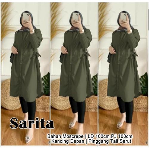 Foto Produk Sarita Tunik Army [Gamis 0152] TGW Baju Gamis Wanita Terbaru dari Super Model
