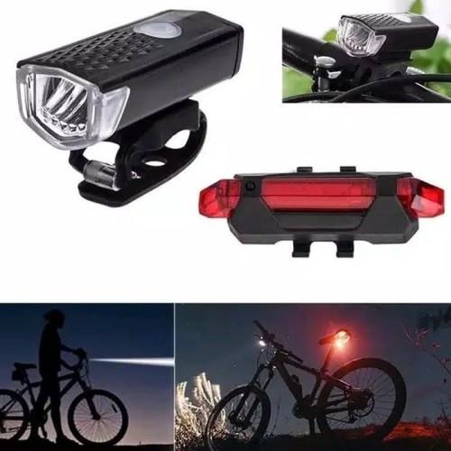 Foto Produk Paket 2in1 Lampu Sepeda LED Light Depan dan Belakang Rechargeable dari PINZY Official Store