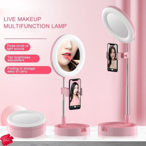 Foto Produk Ring light G3 Live Tiktok Led Fill Light and Mirror Kaca Make up lipat - Merah Muda dari Mix acc88