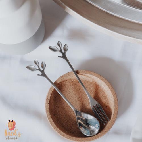 Foto Produk Leaf Spoon Fork/Sendok Garpu bentuk daun/Sendok Kopi Teh Lucu - Silver dari Nacils Choice