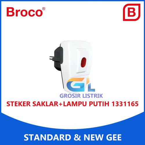 Foto Produk Broco Steker Saklar Lampu Putih 13311 Colokan Plug + Switch 13311-65 dari Grosir Listrik Online