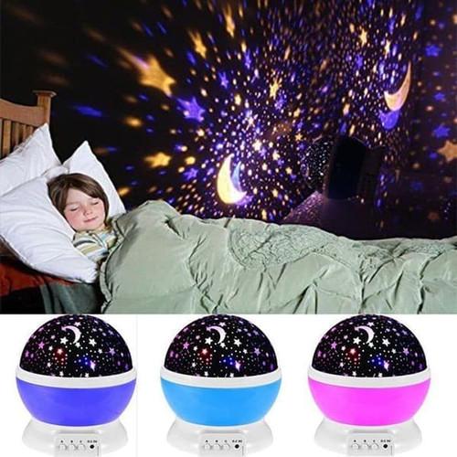 Foto Produk Lampu Tidur Proyektor Bulat Bulan Bintang Star Moon Putar Star Master - Biru dari Three Acc