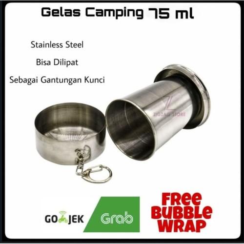 Foto Produk Gelas Camping Lipat Stainless Steel 75 ml dari ZigZag-Store