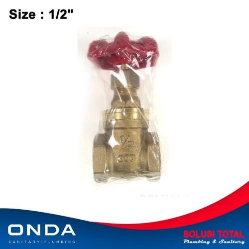 """Foto Produk Onda Stop Kran / Gate valve FH 1/2"""" Kuningan 1/2 inch Keran Putar dari Solusi total"""