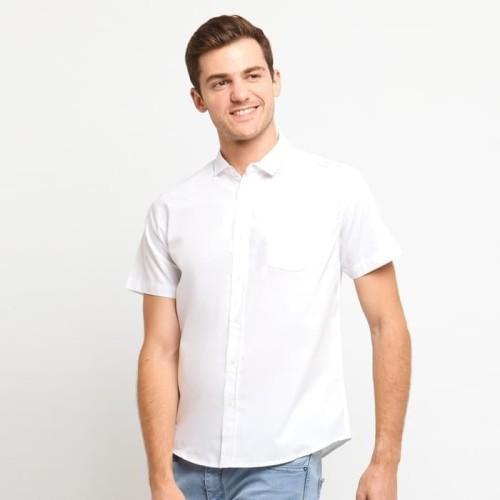 Foto Produk FTSL PPSS Kemeja Polos Putih Pria Lengan Pendek Simple Baju Katun Cowo - Navy, L dari ftslapparel