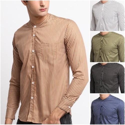 Foto Produk FTSL GGLL kemeja Slimfit Short Stripe hitam biru putih hijau panjang - Garis Putih, M dari ftslapparel