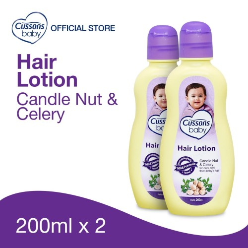 Foto Produk Cussons Baby Hair Lotion Candle Nut & Celery 200ml Twin Pack dari Cussons Official Store