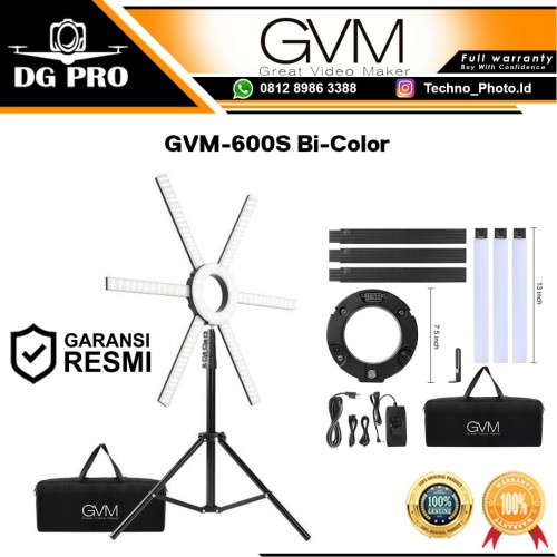 Foto Produk GVM 600S GVM-600S Bi-Color Dimmable LED Ring Light Ringlight Ringlite dari DG PRO