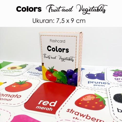 Foto Produk Flashcard warna fruits and vegetables / pairing puzzle / kartu pintar dari Little Mochi