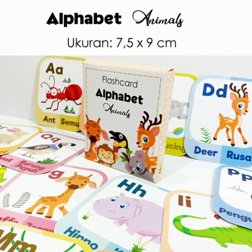 Foto Produk flashcard alphabet animal / kartu pintar dari Little Mochi