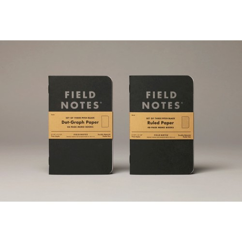 Foto Produk Notebook Field Notes Pitch Black Memo 3 Pack Ruled Paper Stationeries dari JS Store Indonesia