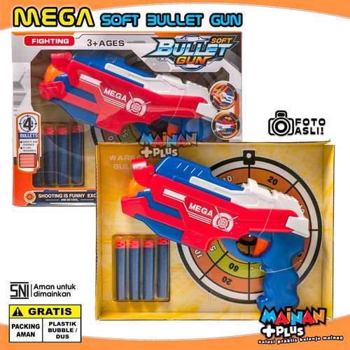 Foto Produk MAINAN ANAK LAKI LAKI PISTOL BUSA MEGA SOFT BULLET GUN NERF OEM - SNI - Merah dari MainanPlus