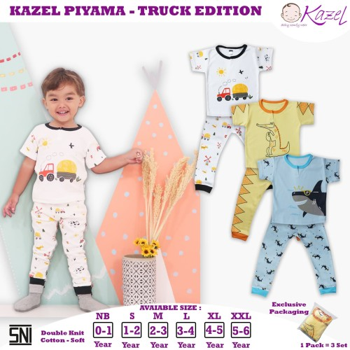 Foto Produk Kazel Piyama Boy Truck Edition 0-5Thn - NB 0-1Thn dari Kazel Babywear