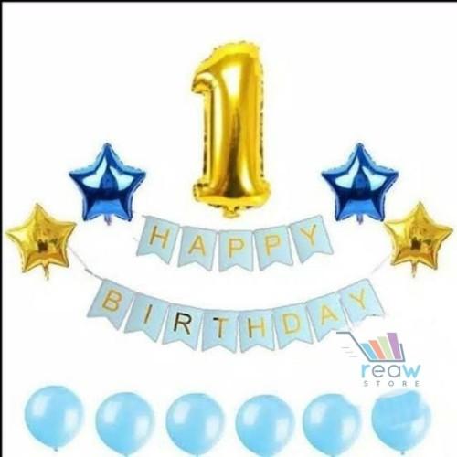Foto Produk Paket Dekorasi Hiasan Balon Ulang Tahun / Happy Birthday Biru 03 dari Reaw Store