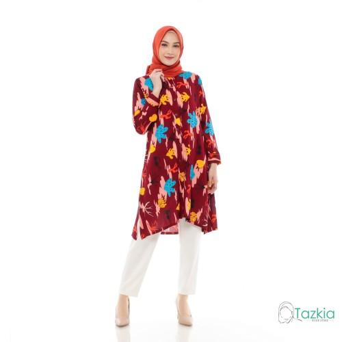 Foto Produk Atasan Muslim Wanita   Kaktus Tunik Maroon   S M L XL   Rayon Viscose - Size 1 dari Tazkia Hijab Store