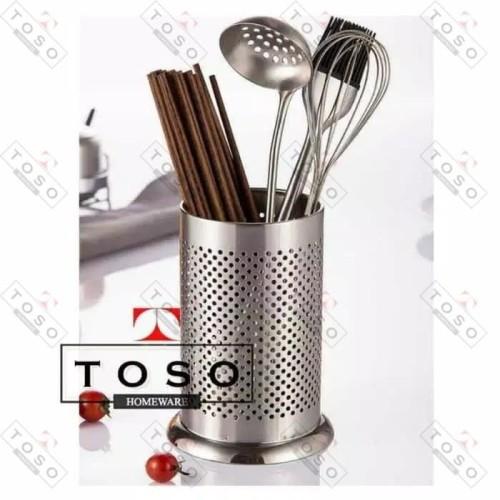 Foto Produk Cutlery Spoon Holder Tempat Sendok Garpu Stainless TS22 Peniris dari Toso Official