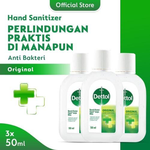 Foto Produk Dettol Hand Sanitizer Original 50 ml Screw Cap Bottle - 3 Pcs dari Dettol Official Store