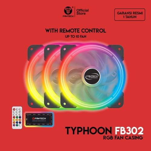 Foto Produk Fantech Fan Casing RGB 12cm TYPHOON FB302 dengan Remote Control dari Fantech Official Store