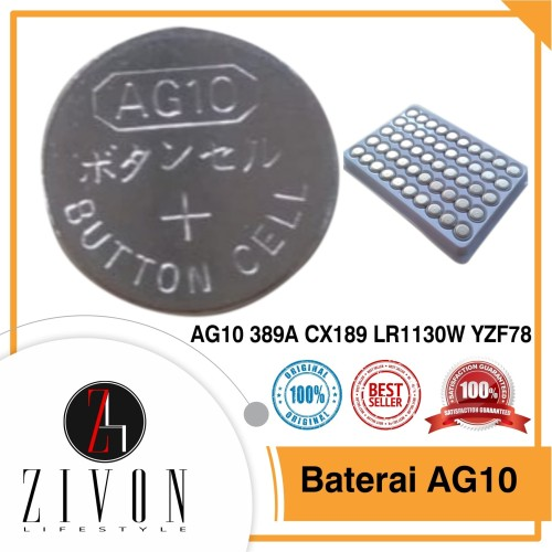 Foto Produk YZF78 Baterai Batre Batere Kancing AG10 389A CX189 LR1130W dari ZIVON HOME DECOR