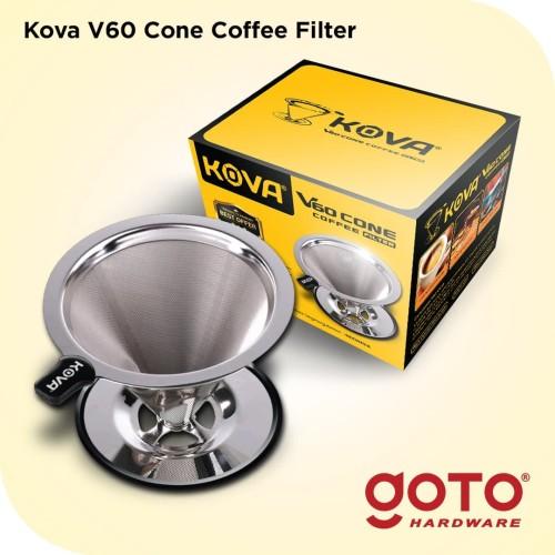Foto Produk Kova Dripper V60 Stainless Steel Coffee Cone Double Mesh Saringan Kopi dari GOTO Hardware
