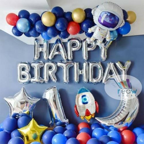 Foto Produk Paket Dekorasi Hiasan Balon Ulang Tahun / Happy Birthday Astronot 01 dari Reaw Store