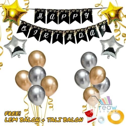 Foto Produk Paket Dekorasi Hiasan Balon Ulang Tahun Happy Birthday Tema Gold 06 dari Reaw Store