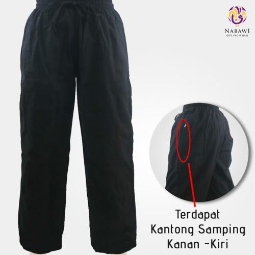 Foto Produk Celana Pria Panjang Hitam Polos Katun Perlengkapan Haji Umroh Murah - Hitam, M dari Nabawi Jakarta