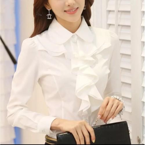 Foto Produk [CK 519 white RO]blouse wanita mosscrepe white dari FASHIONISTA's GROSIR