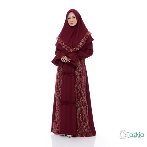 Foto Produk Setelan Muslim | Ghania Syari Maroon | Gamis Khimar Pesta Brukat - Maroon dari Tazkia Hijab Store