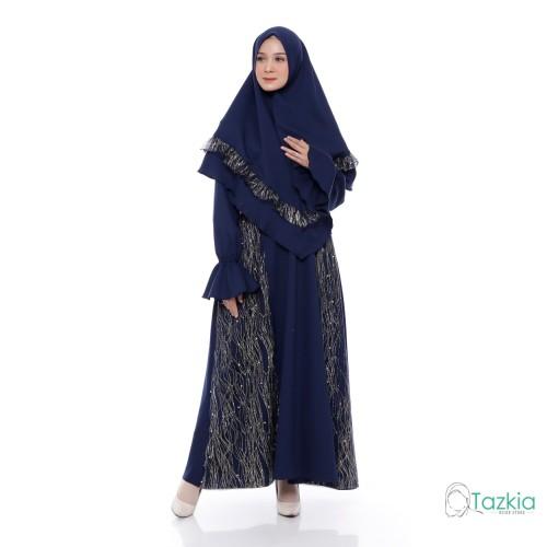 Foto Produk Setelan Muslim | Ghania Syari Navy | Gamis Khimar Pesta Brukat - Navy dari Tazkia Hijab Store