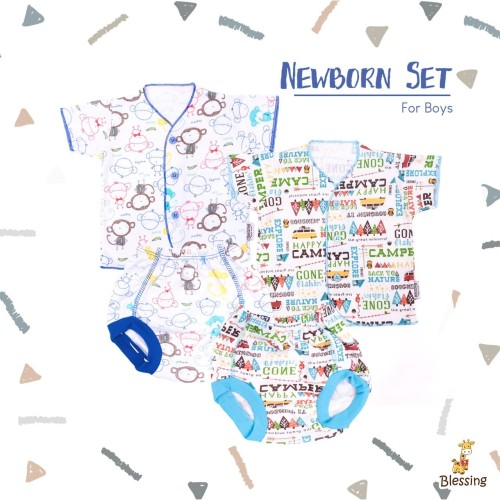 Foto Produk Blessing Babywear-baju bayi tangan pendek dan celanaPOP-NB-B dari BLESSING Babywear