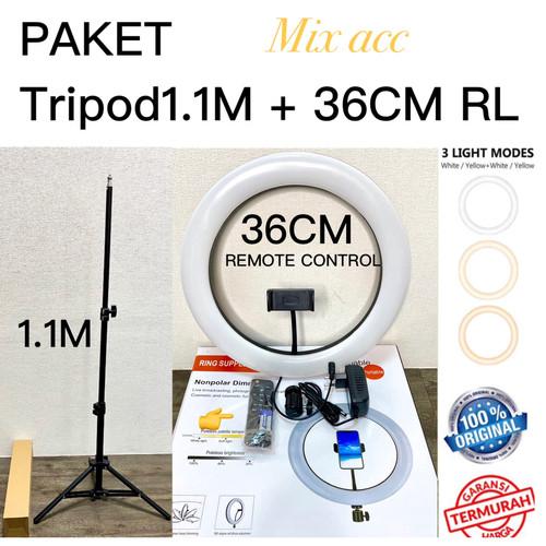 Foto Produk Ring Light 36cm Wireless + Light Stand Tripod 2M 1.6M 1.1M Selfie Led - RL n Tripod 1.1 dari Mix acc88